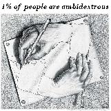 One Percent of People are Ambidextrous