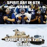 Spirit Day in 6th Grade VS Spirit Day in 12th Grade